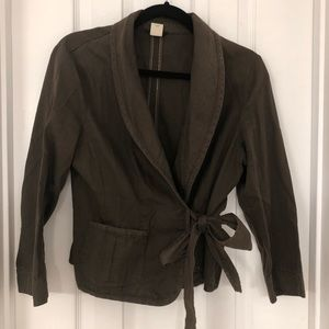 J. crew brown cotton jacket with tie- size 12
